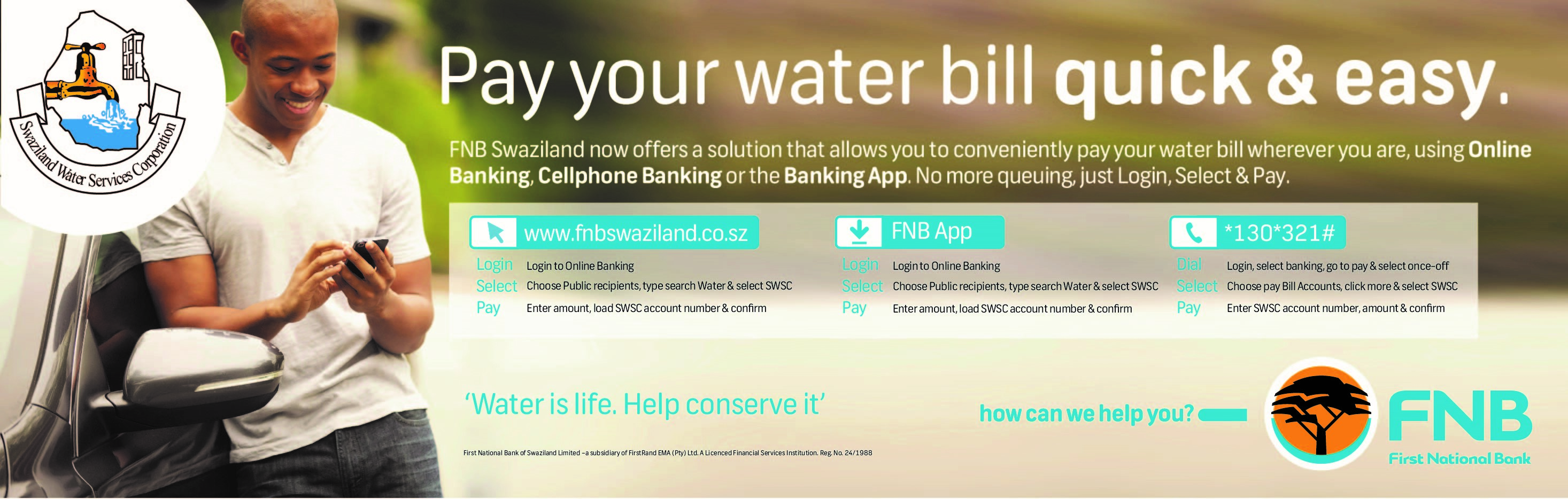 FNB water payment option